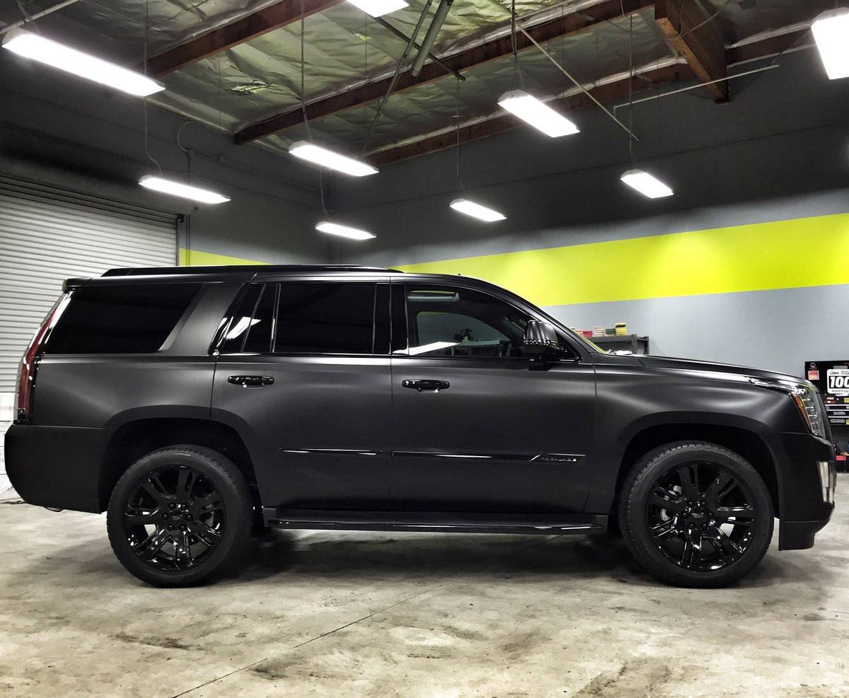 "Cadillac Escalade With Black Rims >> SD Wrap on Twitter: ""Murdered out a new Escalade / Satin Black Wrap, Gloss Black Wheels ..."