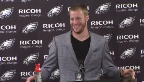 Carson Wentz can NOT stop smiling during his post game press conference Wentz FlyEaglesFly