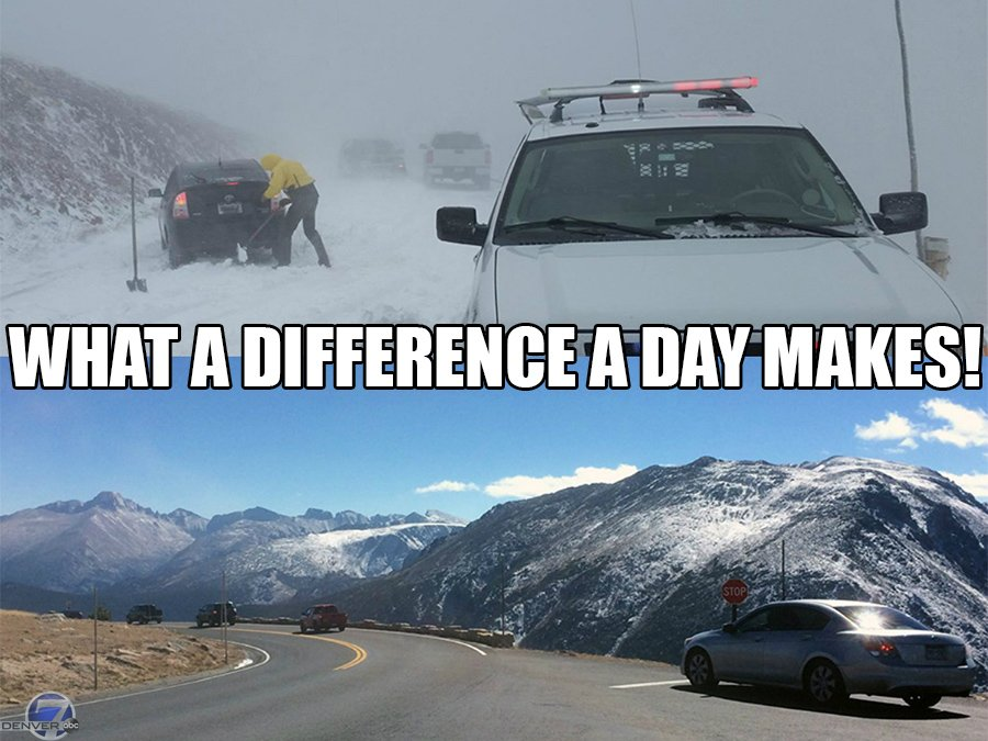 This before/after photo of Trail Ridge Road at @RockyNPS really shows you how volatile CoWX really is!