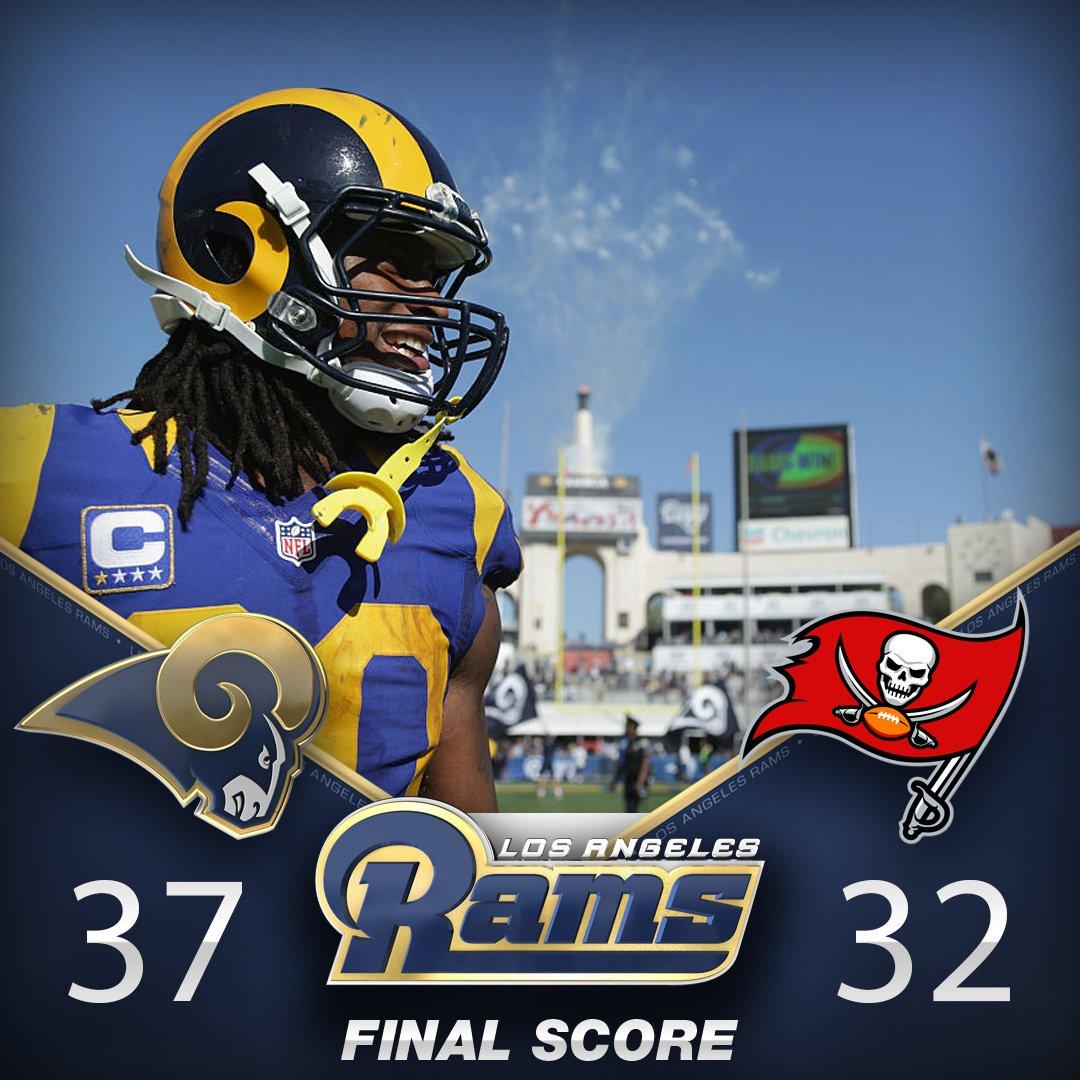 The Rams hang on after an hour delay to improve to 2-1! LAvsTB