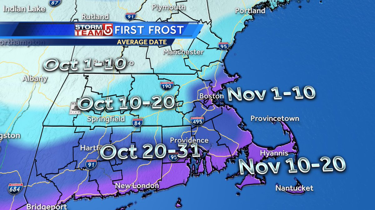 If we get inland frost tonight it will be early compared to normal. wcvb