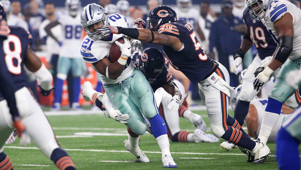 Bears trail Cowboys 24-3 at halftime