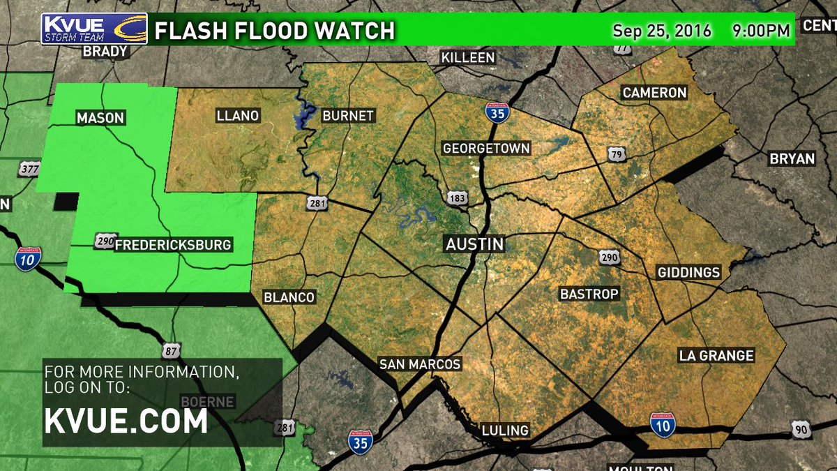 A Flash Flood Watch is now in effect. For more, log on to @kvue atxwx