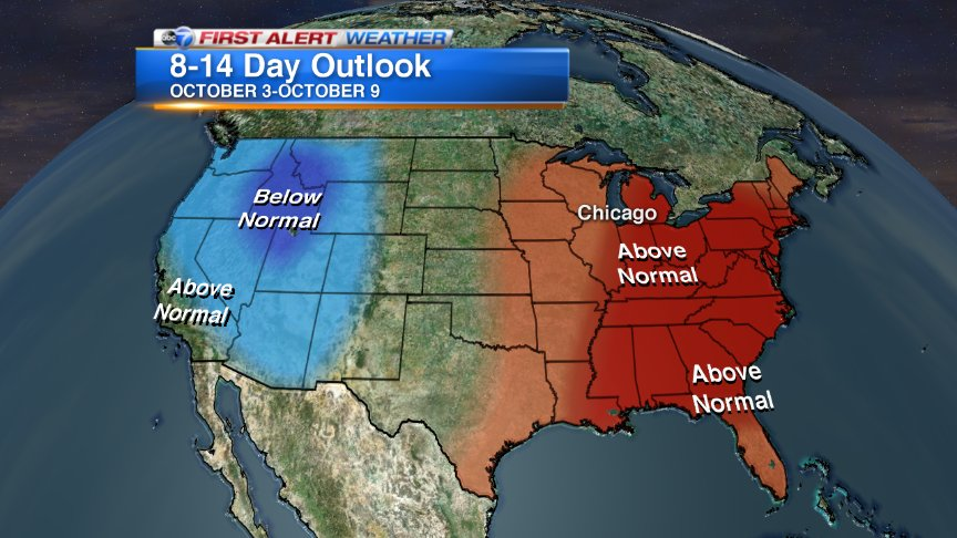 Though it will be much cooler the next several days, it looks like temperatures will rebound for the week of Oct 3.