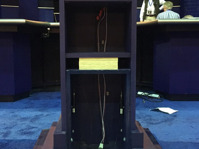 Clinton will use a custom-made lectern to reduce height difference with Trump