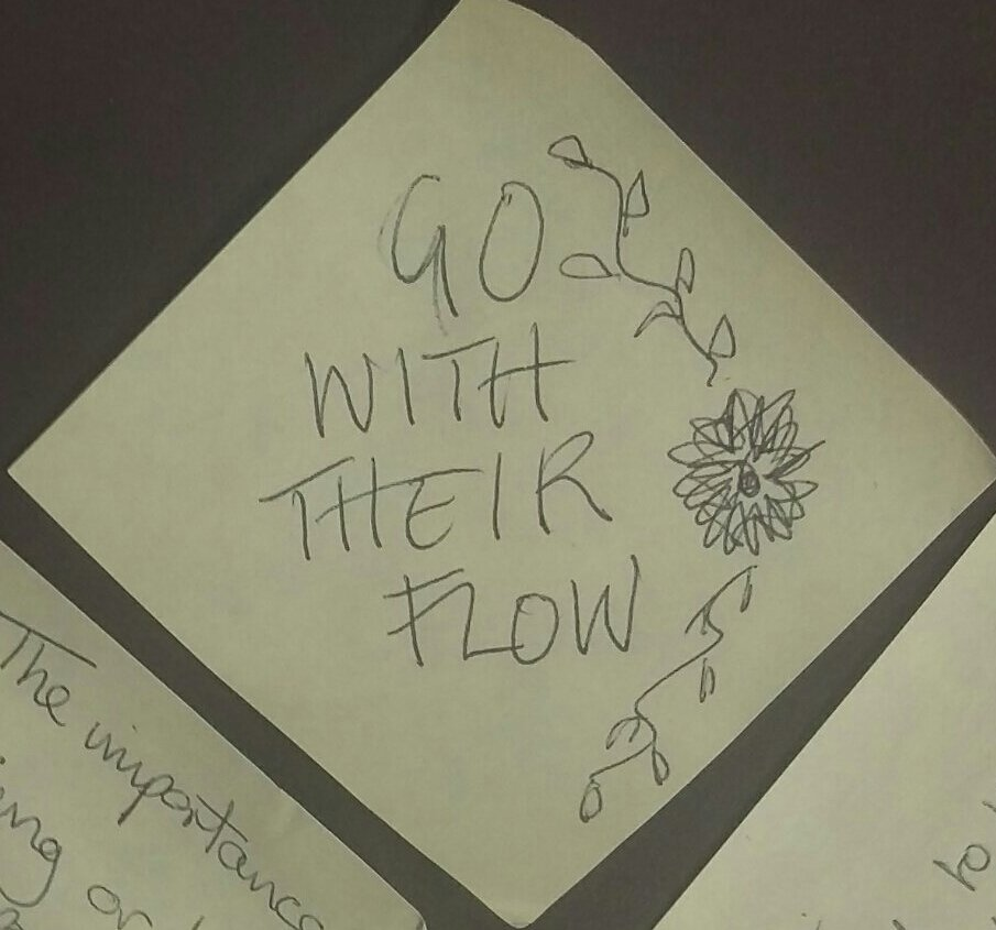 "Today's #dementiado post-it came from a student of @westccollege   ""Go with their flow""  Love this   😊 https://t.co/c2cOiDACq2"
