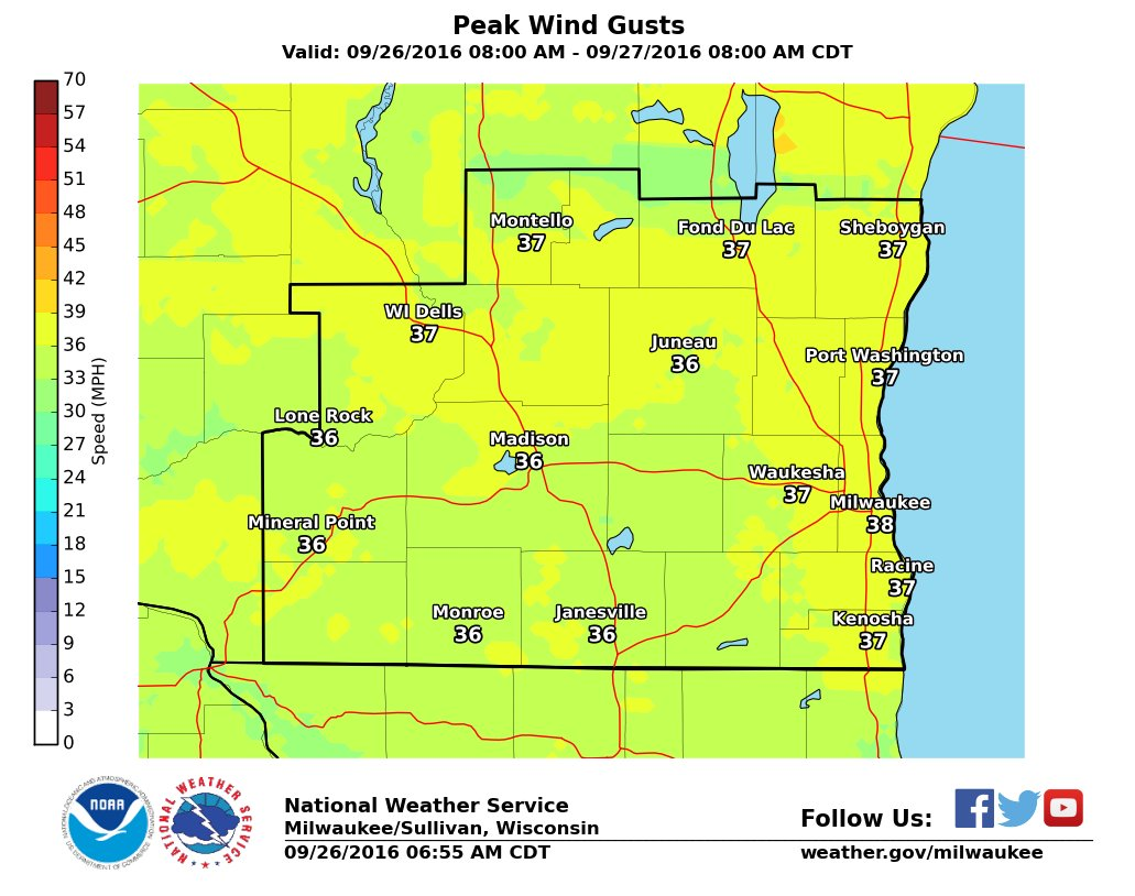 Windy today with gusts approaching 40 mph this afternoon swiwx