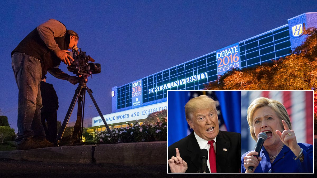 High security and high stakes at the 1st presidential debate tonight on Long Island