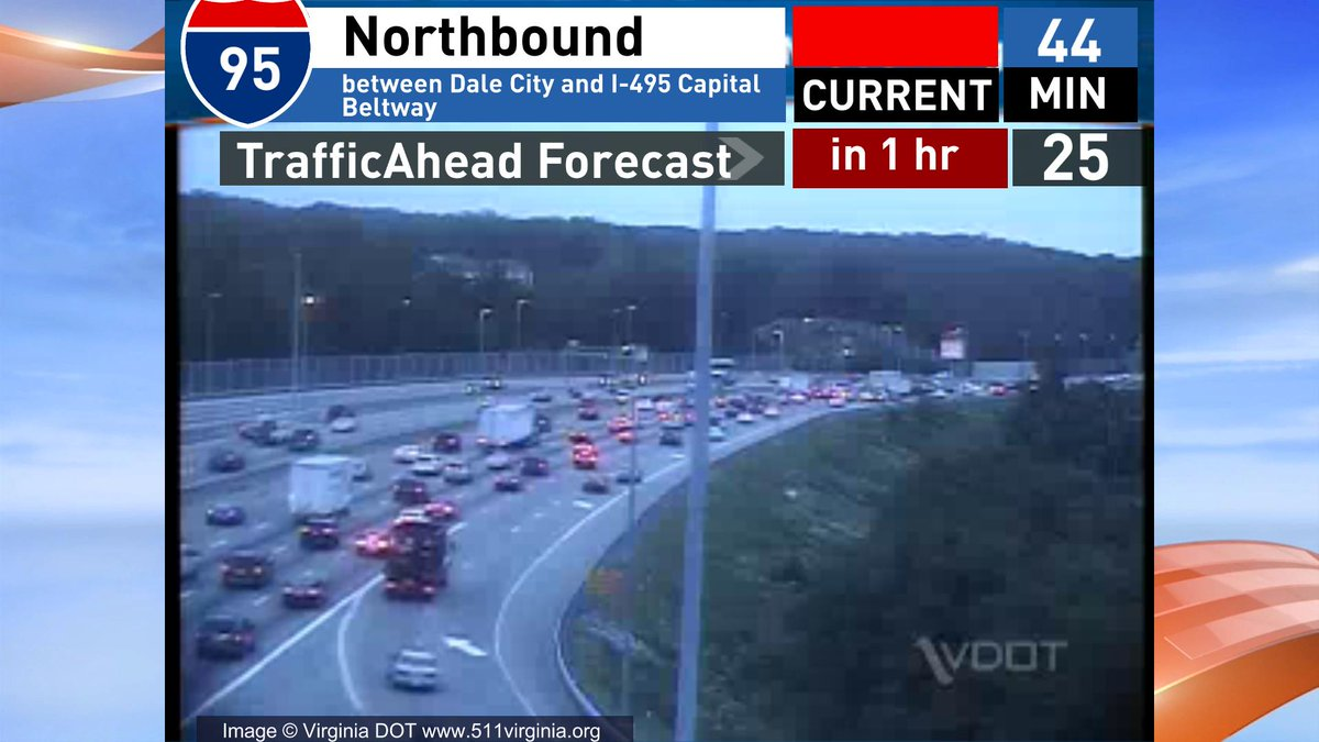 Nb 95 another crash @ Lorton on the shoulder A 44 min ride from Dale City In an hour looks to be 25 min VAtraffic