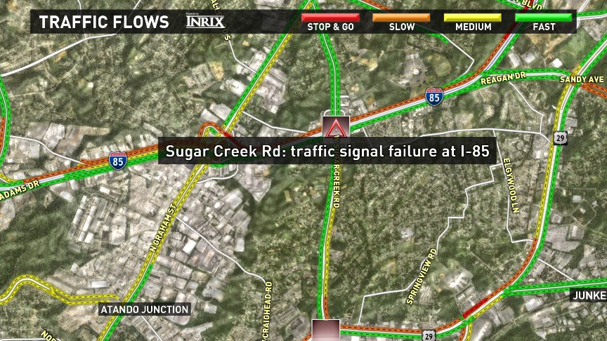 Traffic lights out on Sugar Creek Rd at I-85. CltTraffic