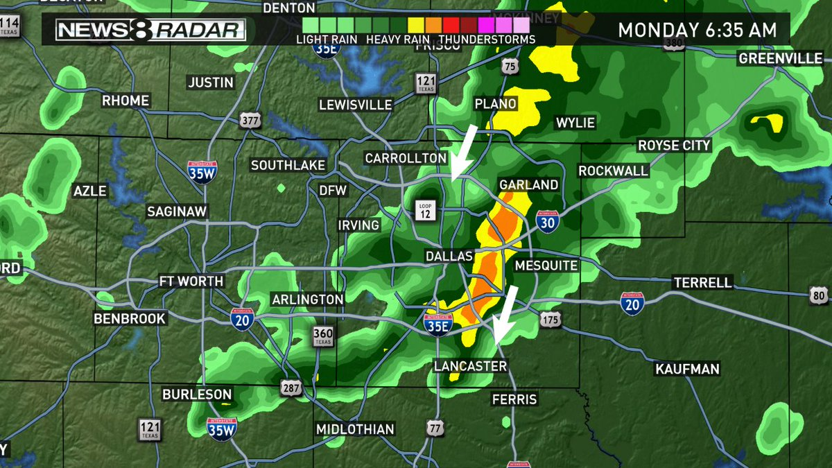 Radar update: Heaviest rain is east of Dallas and moving SE. iamup wfaaweather