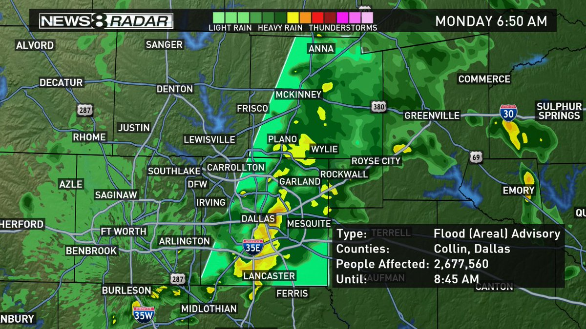 Flood Advisory for Collin and Dallas Co until 8:45 a.m. Localized flooding is possible. wfaaweather