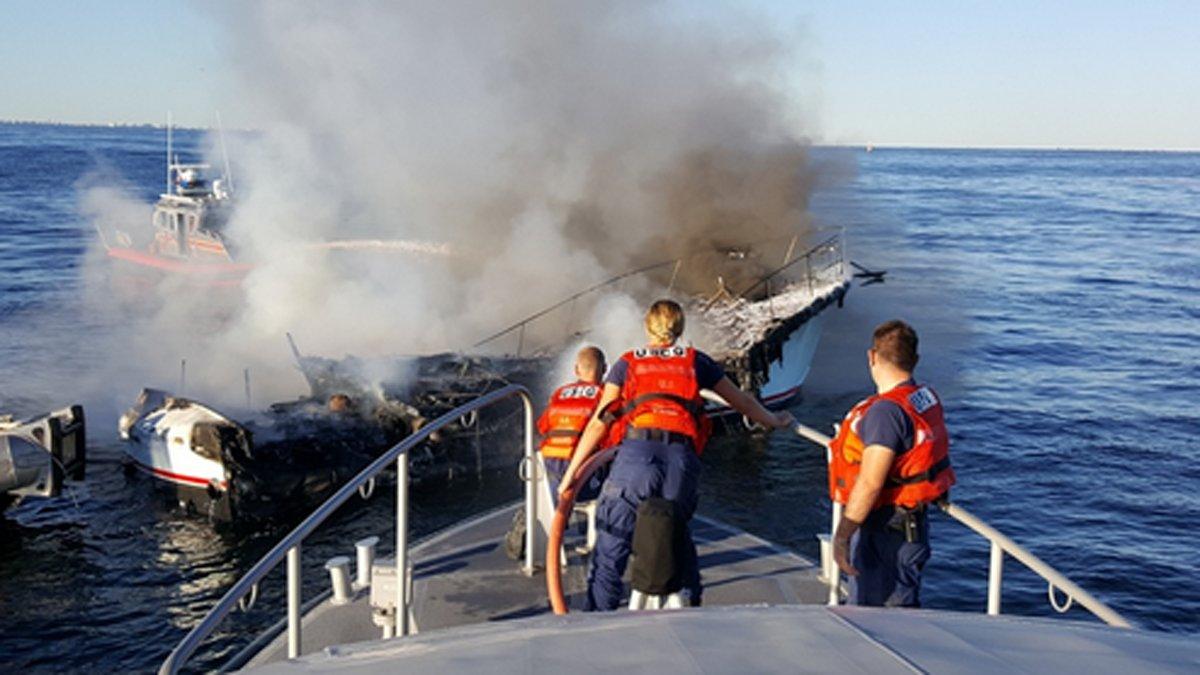 US Coast Guard says a Good Samaritan rescued 8 off boat burning off Jersey Shore
