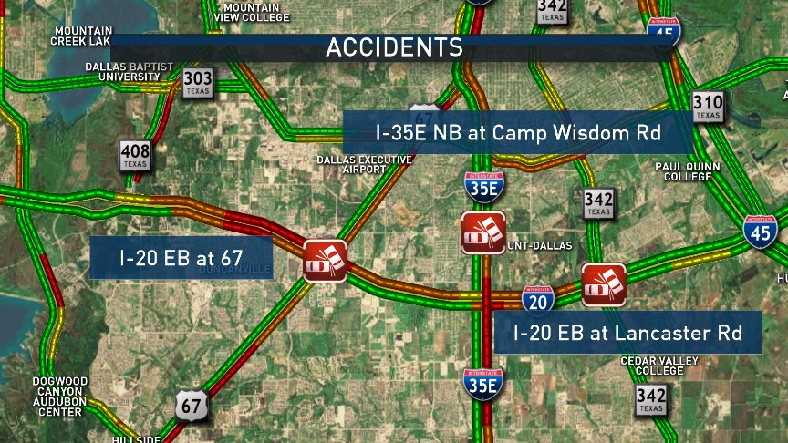 Accidents in southern Dallas county. DFWTraffic @nbcdfw