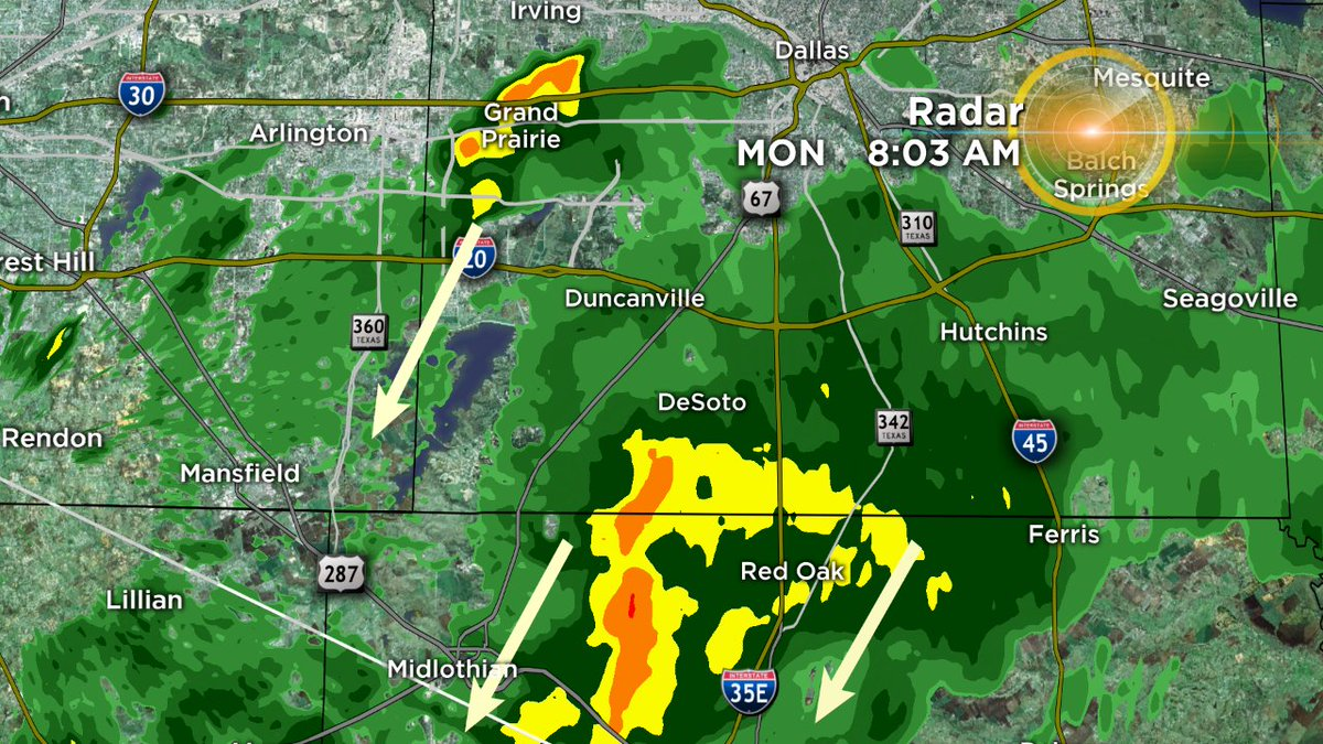 8:03amHeavier shower in Grand Prairie moving SSW. Heavy batch of rain near Red Oak also moving SSW.