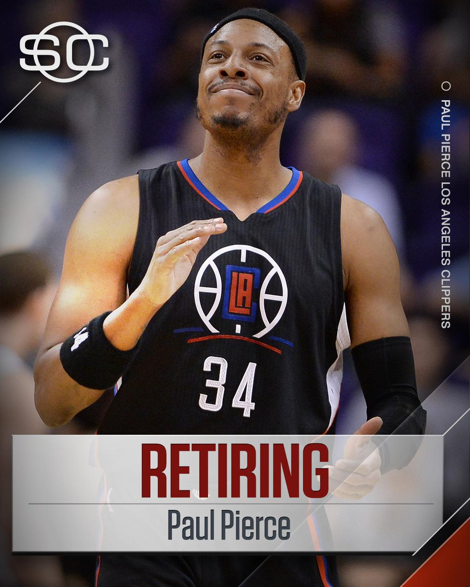 THIS JUST IN: Paul Pierce announces that this will be his final season in the NBA. (via The Players Tribune)