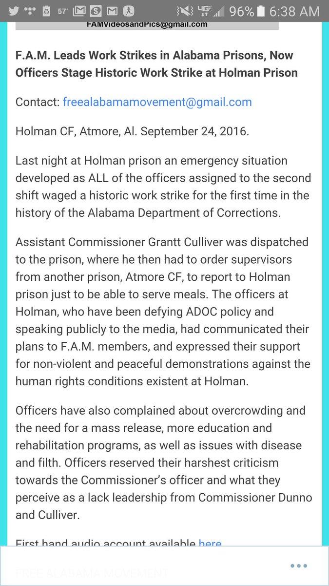 Alabama Inmates on Strike, Say They Will