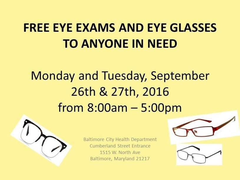 FREE eye exams and glasses to anyone in need. TODAY and tomorrow.