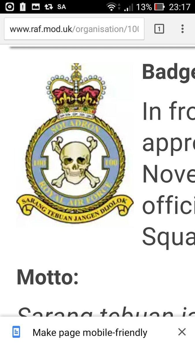 Malaysian Invasion בטוויטר Tahukah Anda Skuad Tentera Udara Diraja United Kingdom Squadron 100 Menggunakan Moto Sarang Tebuan Jangan Dijolok Https T Co E4d7lofiz6