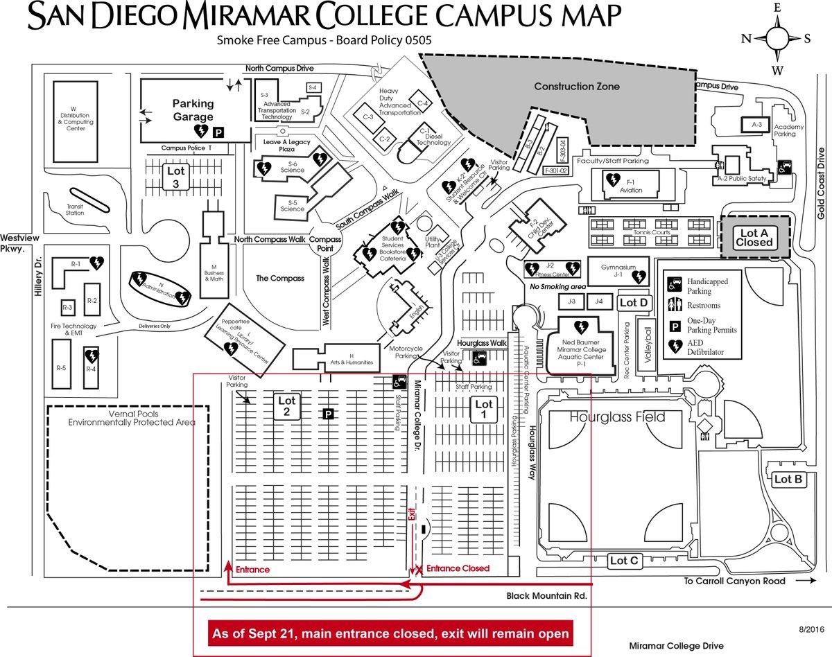 Miramar College Map Miramar College Campus Map | Time Zone Map