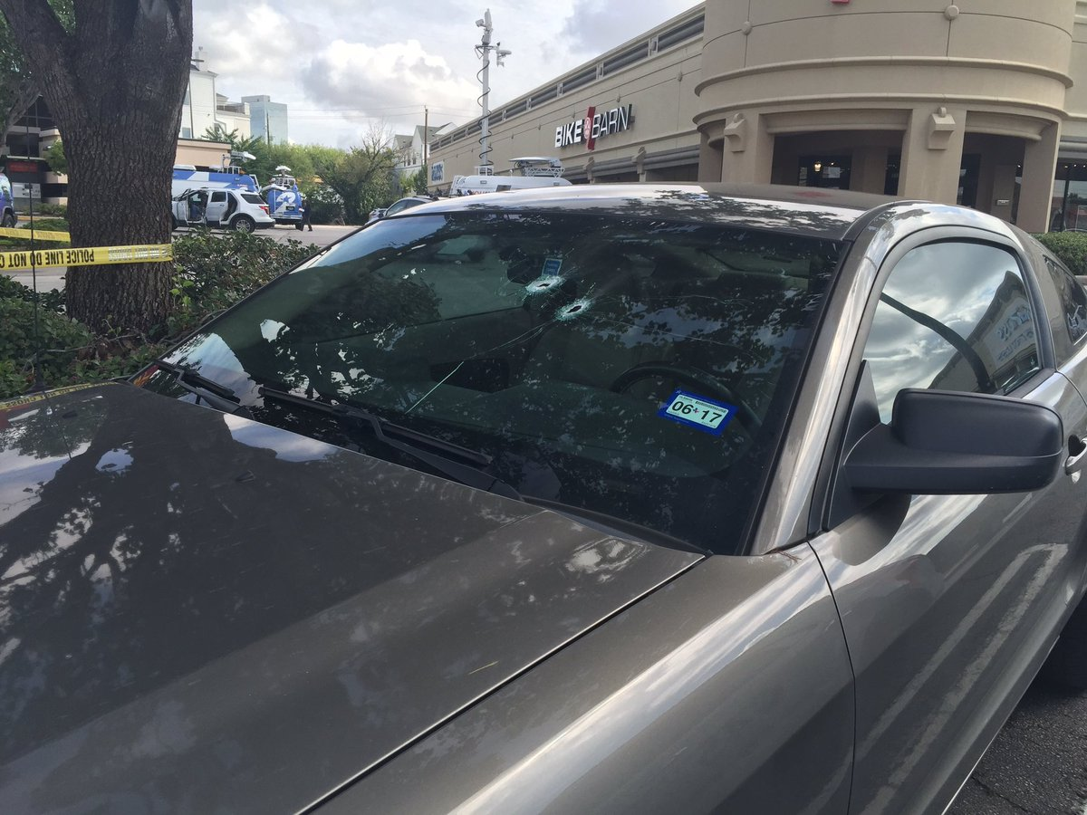 2 bullet holes straight through windshield. WestUShooting khou11