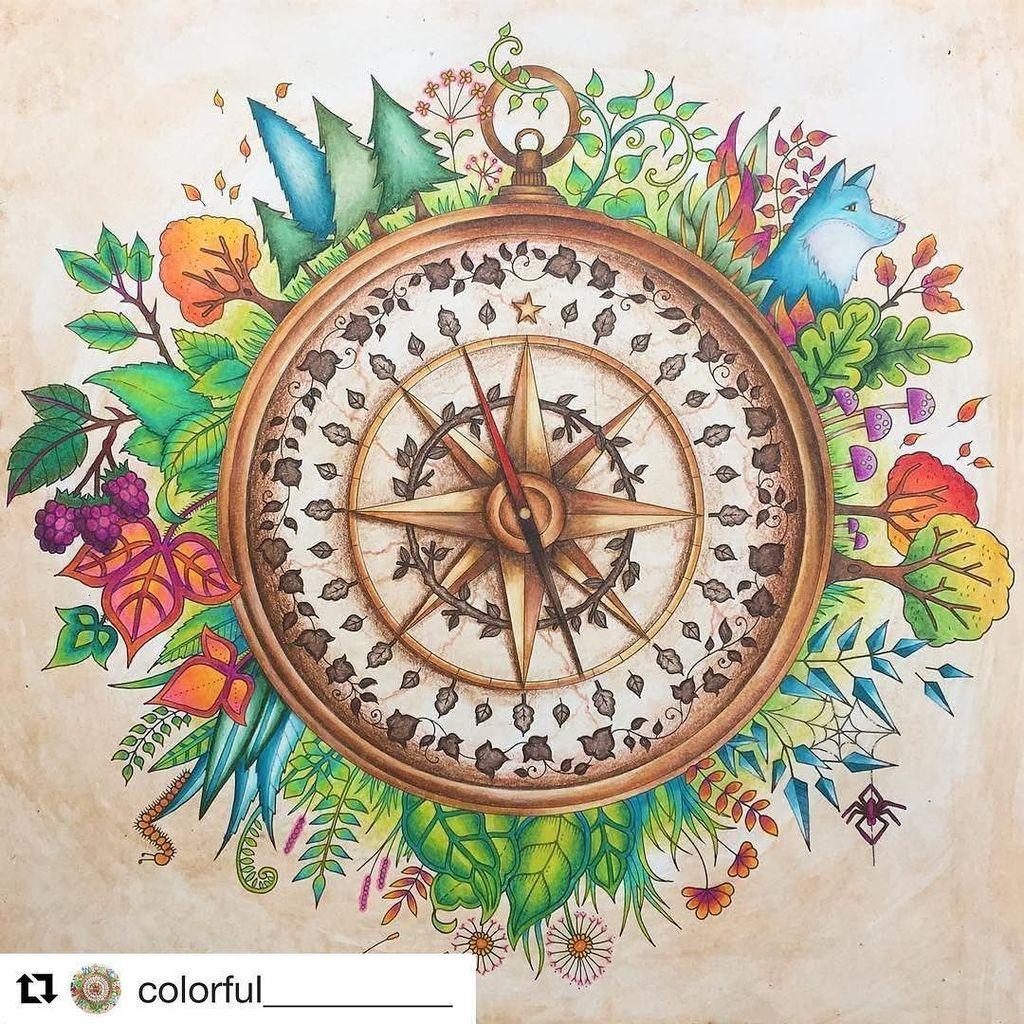 Repost Colorful Compass Enchantedforest Enchantedforestcoloringbook Jo