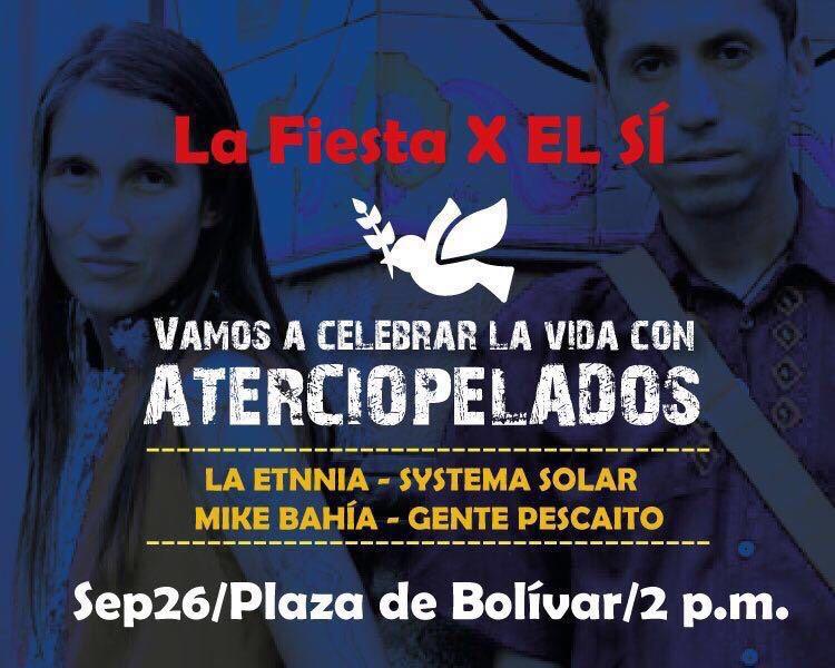 Celebra la Fiesta por el Sí en la plaza de Bolivar el 26 de septiembre a partir de las 2 pm