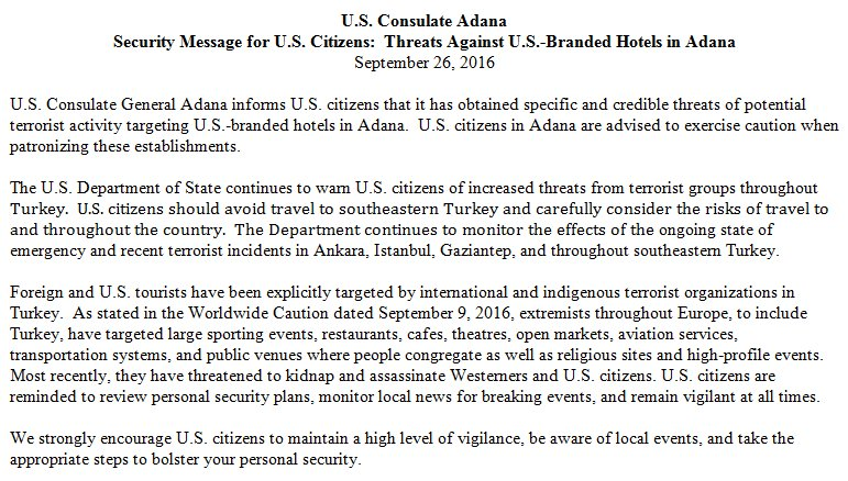 Credible threats of potential terrorist activity targeting U.S.-branded hotels in Adana, Turkey. Exercise caution https://t.co/rKl8iOvId9