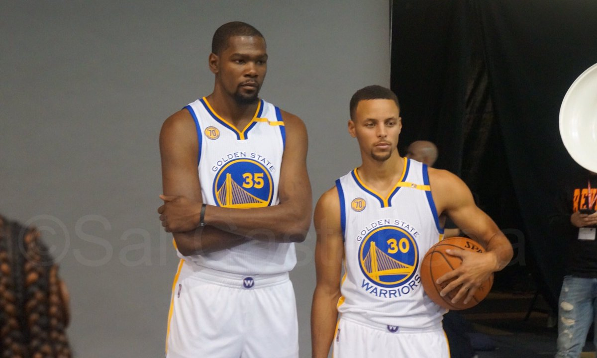Warriors media day and these two were posing for pictures