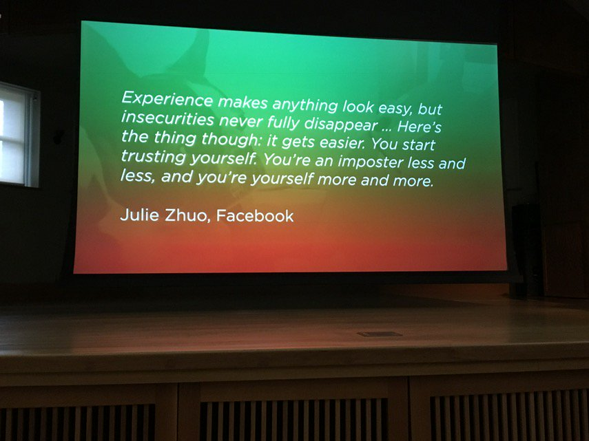 Julie Zhou has good advice on imposter syndrome #Forgeconf https://t.co/mwD4Pr8RLQ