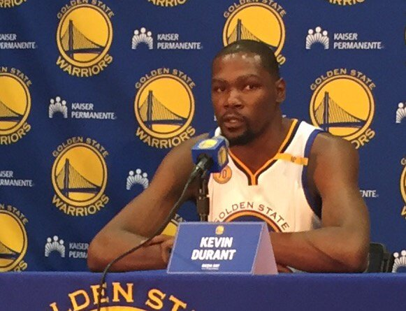 KD says Warriors sales pitch influenced his decision but wouldn't comment on whether he'd be here had they won title