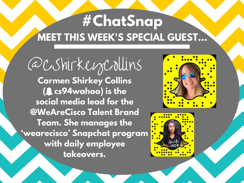 Please join me in welcoming today's #ChatSnap guest, @CShirkeyCollins of @WeAreCisco! https://t.co/zlRdw3KPzo