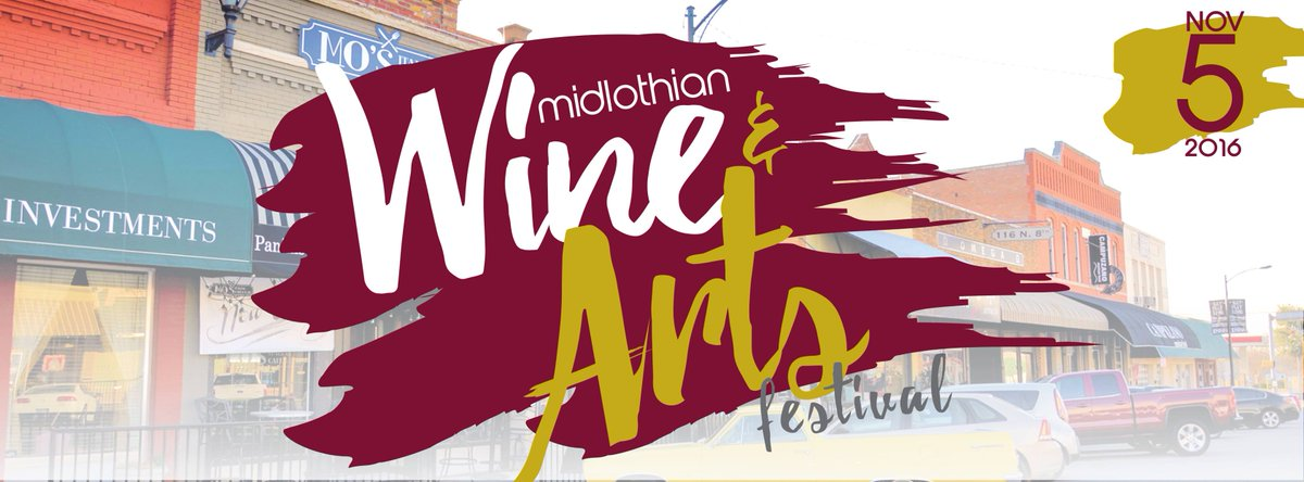 We'll be at the Midlothian Wine & Arts Festival Saturday, Nov 5th from 4-8pm! SAVE THE DATE! #TxWine #Midlothian #WineAndArtsFestival pic.twitter.com/ZDxhGsfpI9