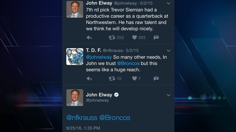 John Elway responds to fan questioning Siemian pick 511 days later