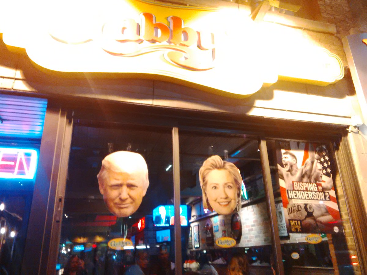My local bar has the sound blaring on sidewalk for U.S. debate. #toronto #battleroyale
