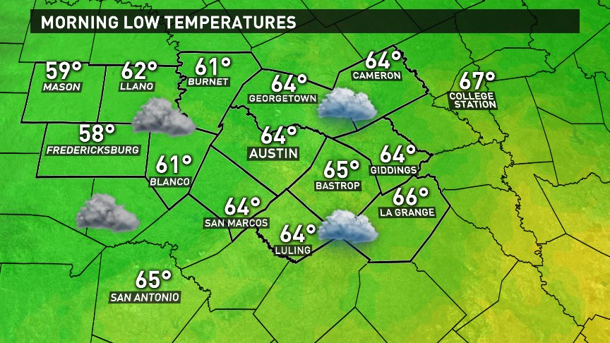 Most spots in the 60s Tuesday morning. Expect temperatures to be slightly cooler on Wednesday morning: atxwx