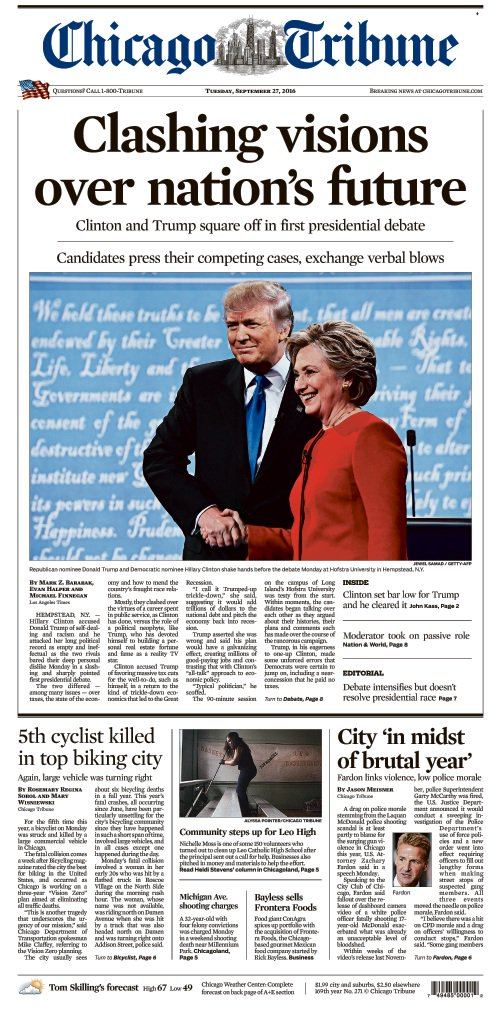 Tuesday's front page featuring debatenight coverage