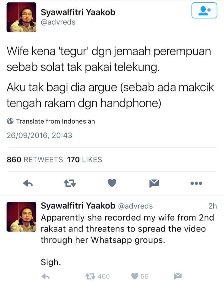 Bila semua benda nak viral tapi menampakkan kejahilan sendiri.  Telekung bukan syarat sah solat. https://t.co/Poa9kWzE2G