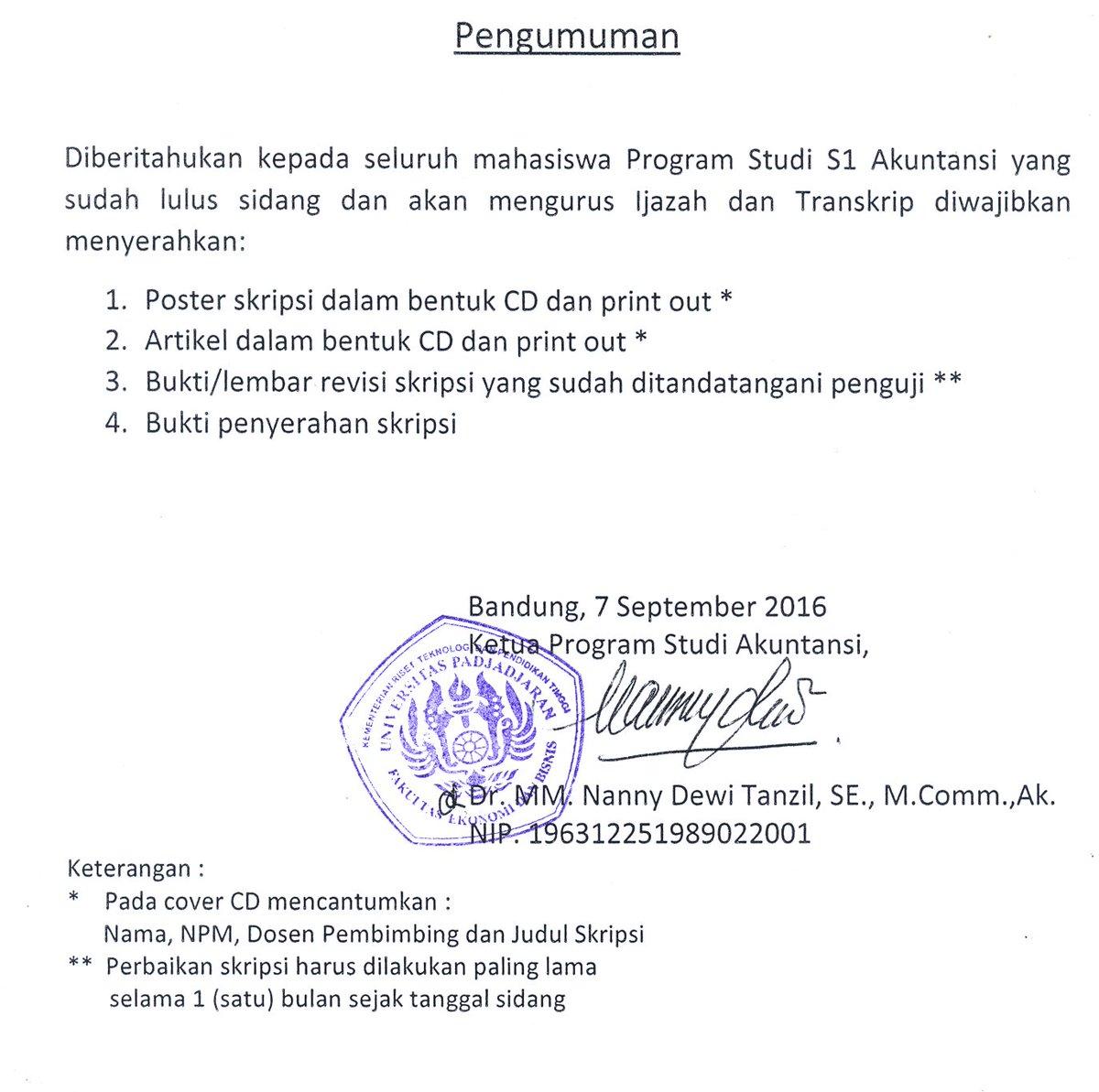 Sbaa Feb Unpad No Twitter Himakunpad Pengumuman Kelengkapan Dalam Mengurus Ijazah Dan Transkrip Prodi S1 Akuntansi