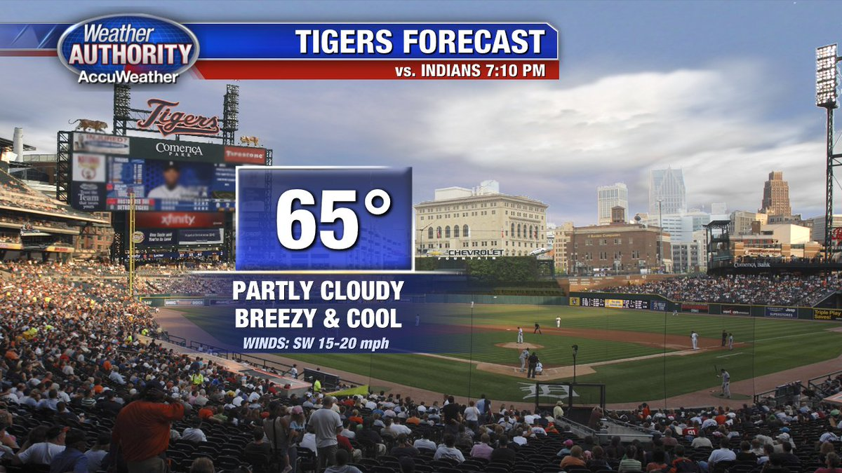 Heading to Comerica Park this evening to cheer on the Tigers? Take a jacket. Cool & breezy. Go Tigers! @FOXSports