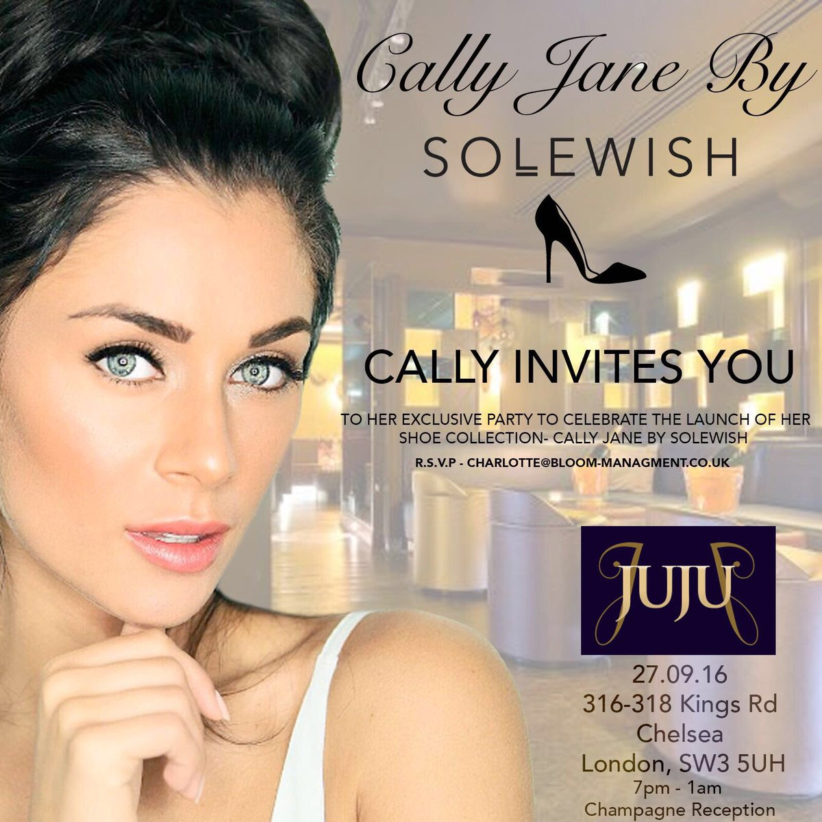 Excited for @MissCallyJane @collection_cj launch party tonight @JuJuKingsRoad Event starts at 7pm invitation only #SoleWish #JujuChelsea