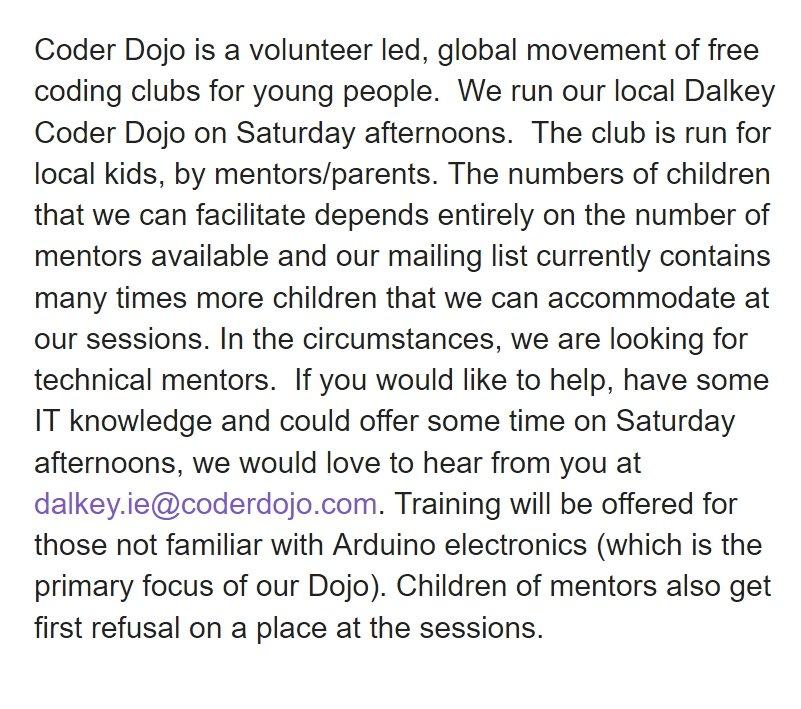 The superb Dalkey Coder DoJo is looking for Mentors. https://t.co/VgtFhZWsjb