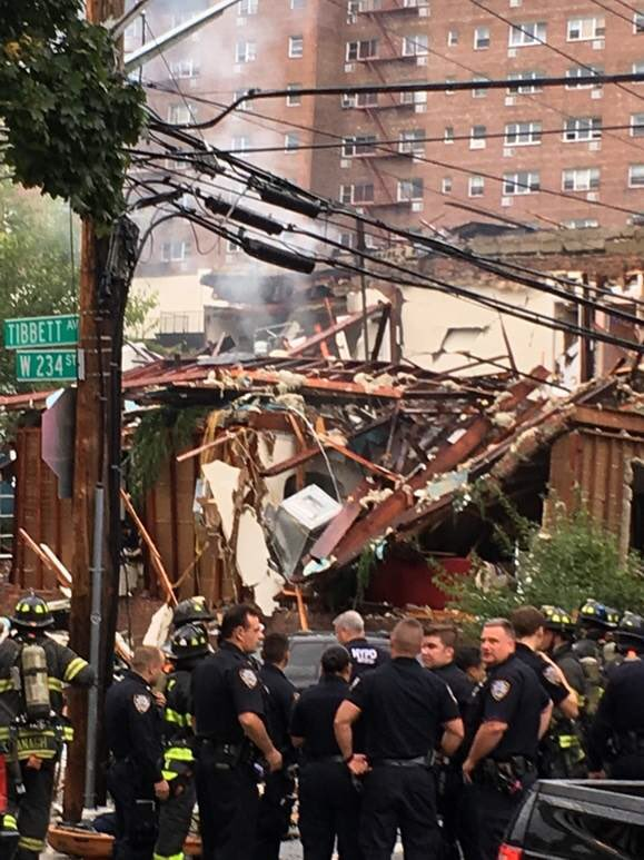 Two firefighters injured in Bronx house explosion. Gas leak reported before fire. @ABC7NY
