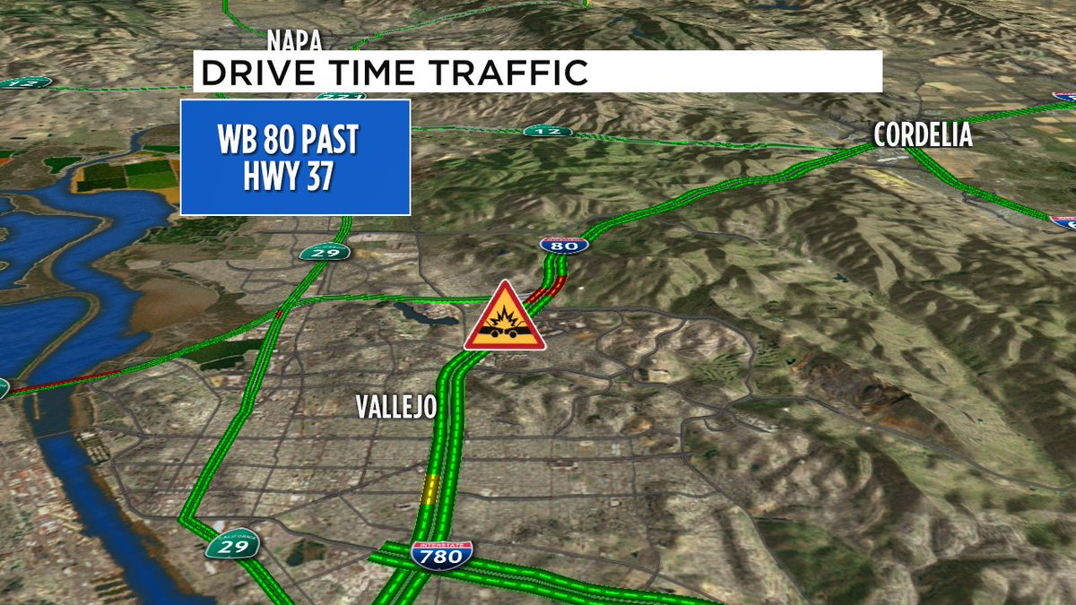 Vallejo- crash reported WB 80 just past Hwy 37, left and right lanes blocked, CHP enroute, possible injuries.