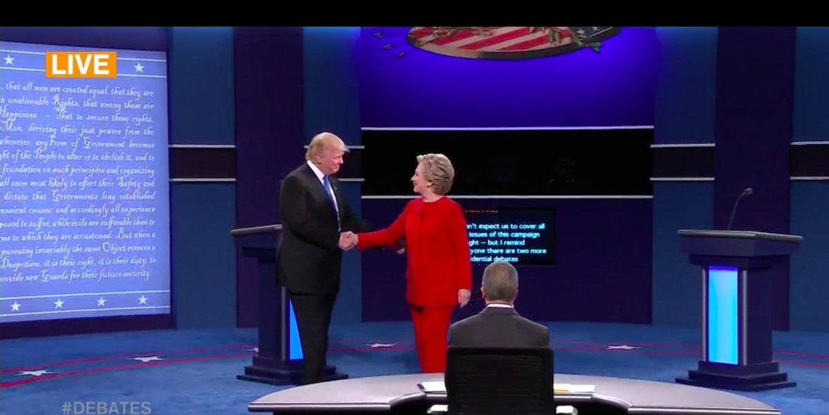 Watch Hillary Clinton and Donald Trump Shake Hands at the Presidential Debate https://t.co/6kE1yNs2GF https://t.co/gSKo1UsUQq