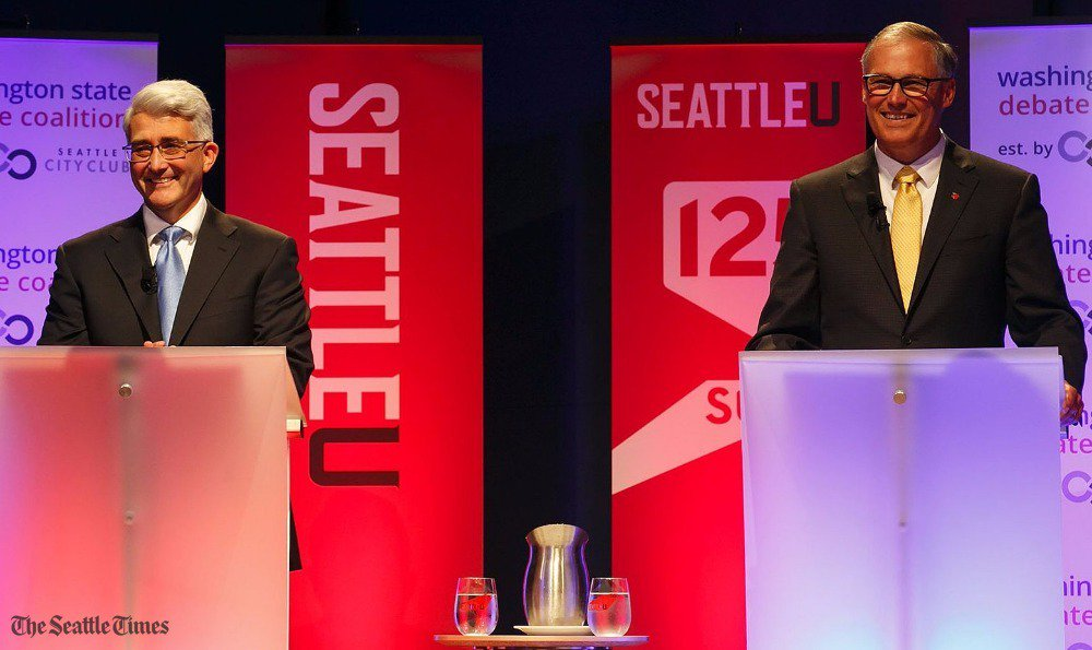 Bryant and Inslee sparred about education, taxes and government oversight in second debate.