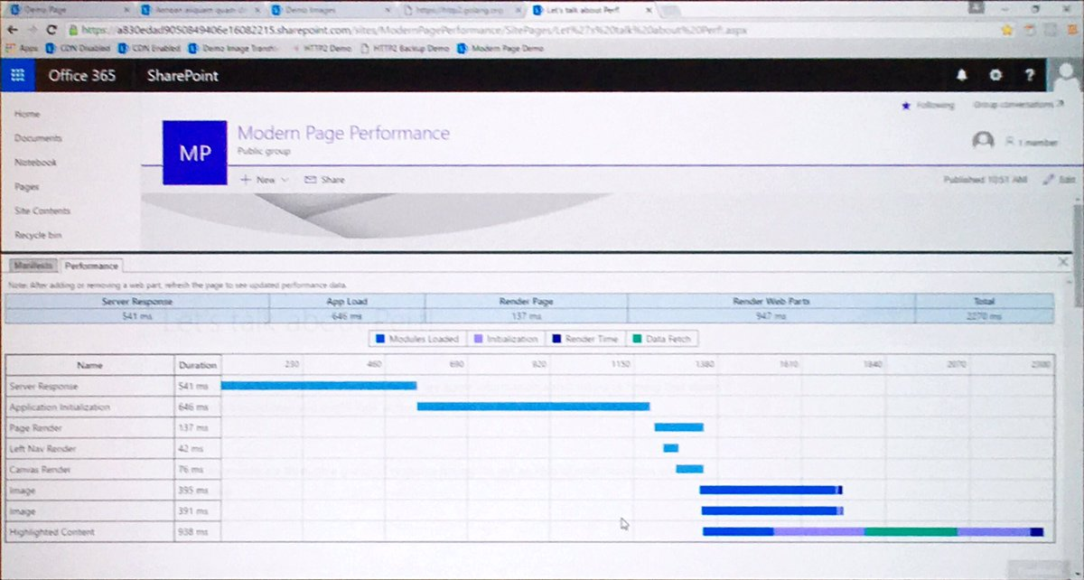 SPO Easter Egg? Control Shift Tilda showing the performance of Modern SharePoint pages #MSIgnite #brk3026 https://t.co/N4vAZ4DAUe