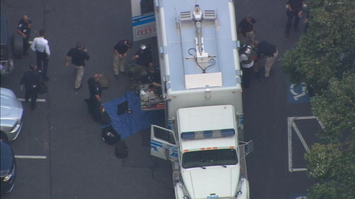 CMPD headquarters evacuated for suspicious package. @WSOCChopper9 LIVE FEED-->