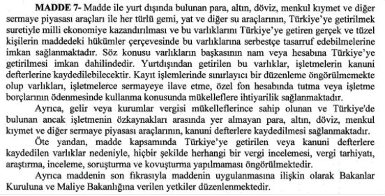 9) Article 7 offers blanket immunity for those who bring their assets to #Turkey. No questions asked. https://t.co/qqYBNyyjKh