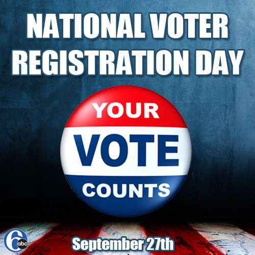 Are you registered to vote yet? Remind your friends! NationalVoterRegistrationDay